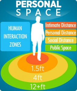 graphic representation of the personal space zones of human interaction